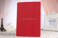 3-folding Toothpick Texture PU Leather Case with Transparent Hard PC Back Cover for ipad air 2