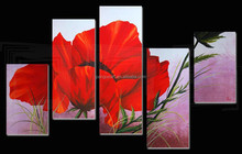2015 newest design 5pcs flower oil painting on canvas 41418 from china