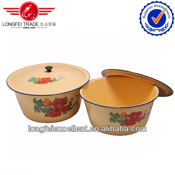 2014 Nice-design white Enamel finger bowl with flat cover 12-50cm China wholesale