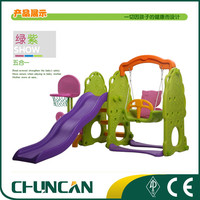 2016 Chuncan Plastic Swing and Slide and Bsketball Stand Set Kid Toy