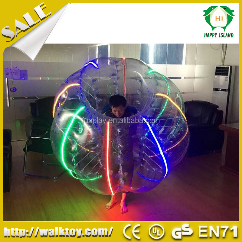 HI New Amazing 100% PVC/TPU LED soccer bubble, LED glowing bubble ball, human sized football bubble ball