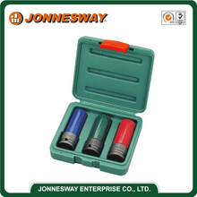 JONNESWAY 3PCS 1/2 INCH DR. WHEEL NUT IMPACT DEEP SOCKET SET