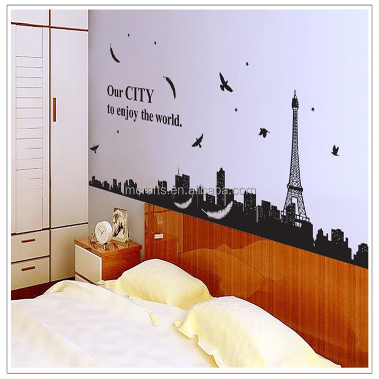 Removable wall stickers wall stickers decorative painting Eiffel Tower in Paris fashion romantic wall sticker AY9093