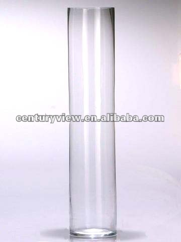 mouth blown clear glass cylinder vases