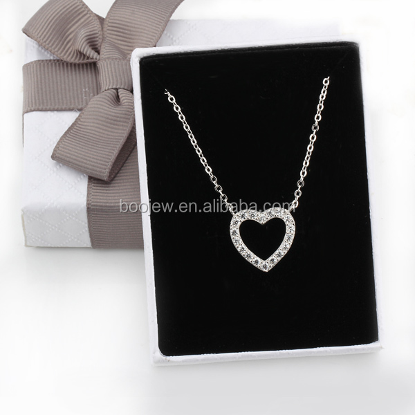in stock jewelry silver 925 chain for girl necklace heart shape pendant