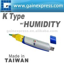 USB K Type Thermocouple with Humidity Data logger 16K memory without LCD display Made in Taiwan