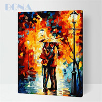 Bona Lovers Kissing In The Rain Simple Abstract Paintings