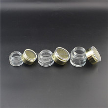 fancy Cosmetic 30ml straight side transparent glass jar with golden cap