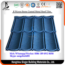 Indonesia/Nigeria/Kenya/Ghana New Classical 8 Waves Stone Coated Metal Roofing Tiles, Roof Building Construction Material