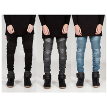 Custom high quality biker skinny fit denim men pants jeans