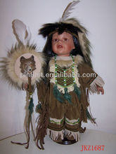 Native American Indian Baby Doll Ceramic Head, Hands and Feet 16""