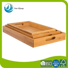 Renewable home and hotel squared bed breakfast 3 pcs bamboo tray bread tray with cut out handles