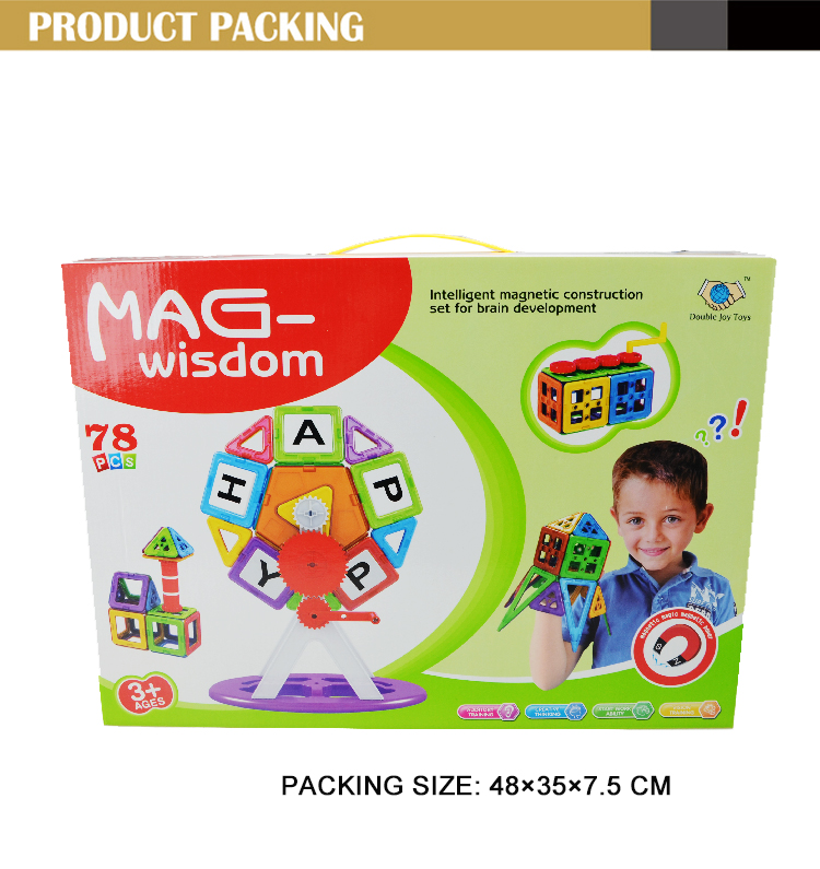 Kids toys educational wisdom magna tiles toys magnetic building blocks