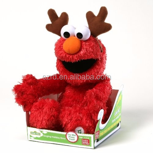 Gund Sesame Street Singing Holiday Elmo Animated Toy/ oem plush soft toy/stuffed animal plush toy
