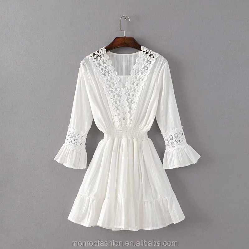 monroo Fashion European style V - collar women white dress three quarter sleeve elastic waist lace dress female