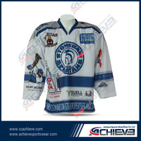 newest Wholesale Sublimated Custom Ice Hockey Jerseys with your number , logos