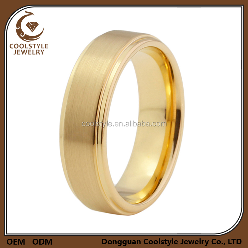 Wedding band fancy 18k gold plated tungsten carbide ring designs for girls