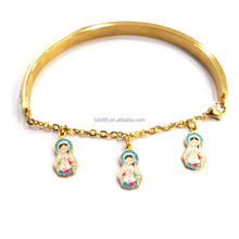 Hot Sell Gold Stainless Steel Colorful Enamel Baby Jesus Cross Virgin Mary Religious Open End Christian Cuff CZ Bangle Bracelet