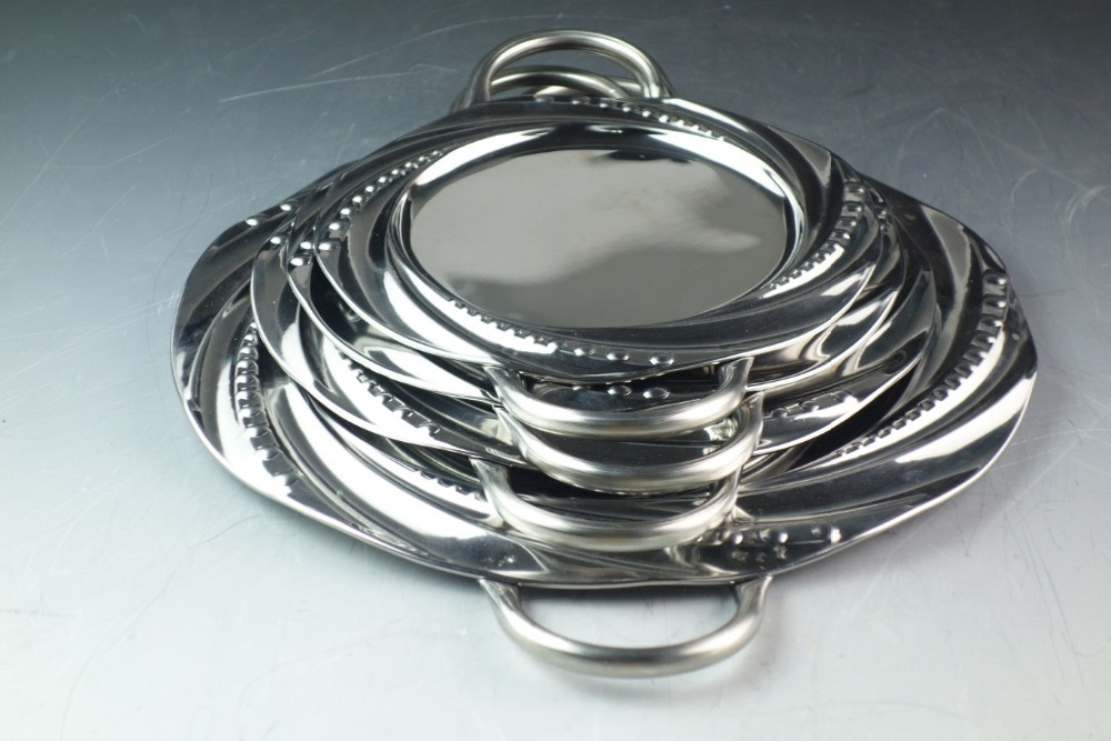 2016 Hot sell Stainless Steel Round Serving Tray Plated With silver clour