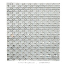 13 Facet Diamond Mirror Glass and Frosted Brick Decorative Glass Mosaic Tile