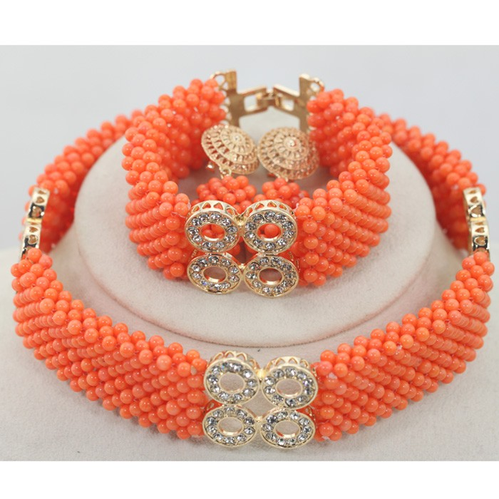 Gemsnorm necklace costume jewelry fashion necklace white /orange coral beads GMN0113