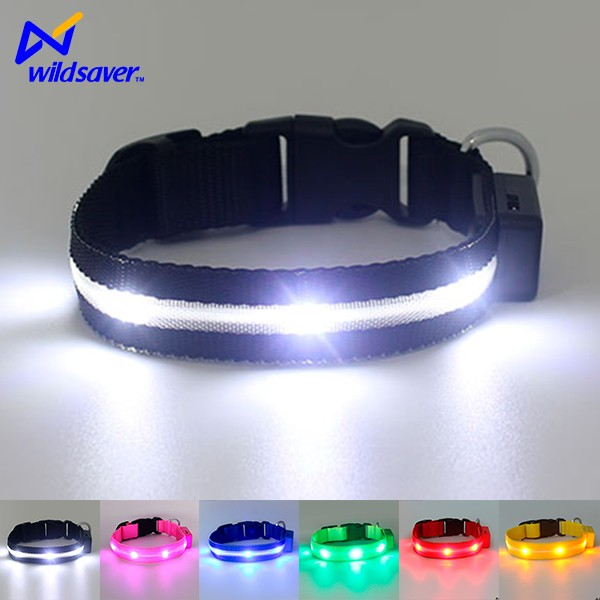 Safety LED Pet Dog Collar Used For Night Running Or Walking At Night