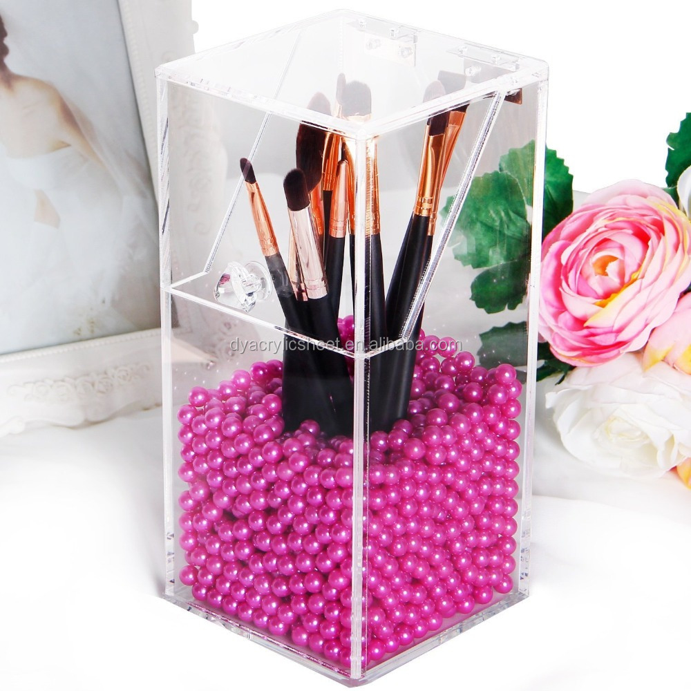 Top Grade Acrylic Cosmetic Makeup Display Stand for Brush with Lid