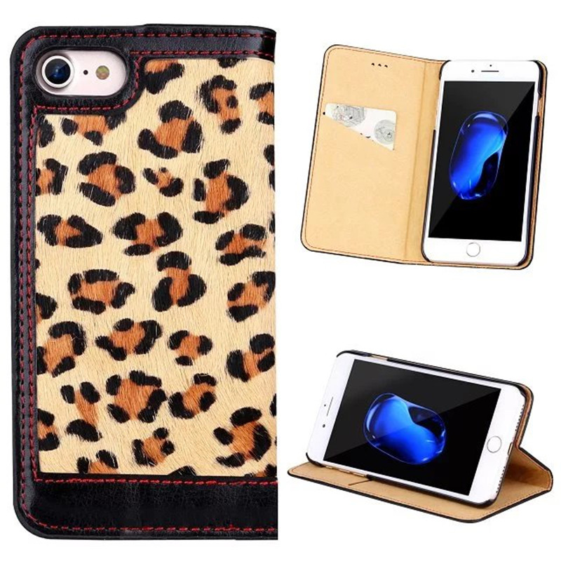 Fashion Leopard pattern Leather Case for iPhone 7 ,for iPhone 7 Genuine leather case