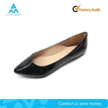 lady flat black patent leather flats point shoe