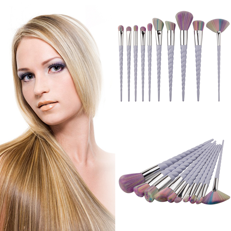 10pcs Rainbow Hair Unicorn Cosmetic Make Up Brushes Set