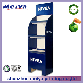 3 Tier Cardboard Cosmetic Display Stand,Carton Floor Display