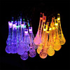 Crystal Water Drop Strip Light LED String Light Waterproof Solar Outdoor String Light for Party Lawn Garden