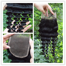 Hot selling real human hair natural wavy cheap lace closure