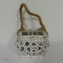 Country distressed rattan candle holder with glass cup and hemp rope handle