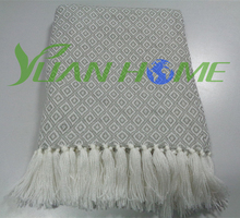 New product acrylic material decorative throw blanket with tassels (YH8131)