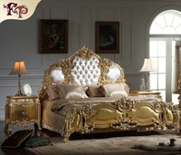italian french antique furniture Bedroom Furniture Europe Design leather king size bed villa furniture