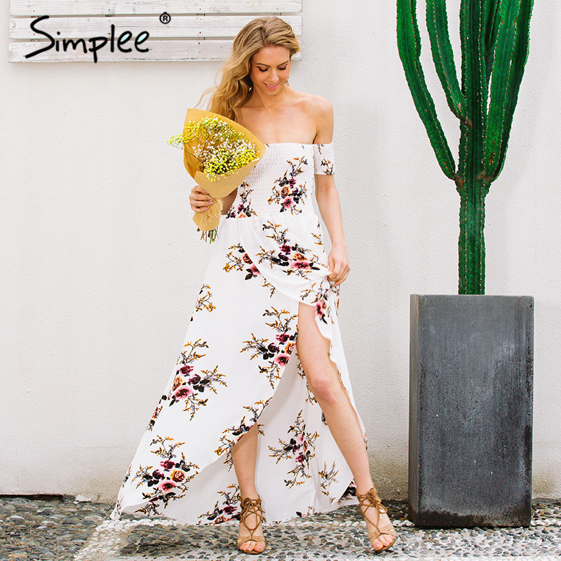 Simplee 2017 boho style off shoulder flower print maxi dress for holiday and beach