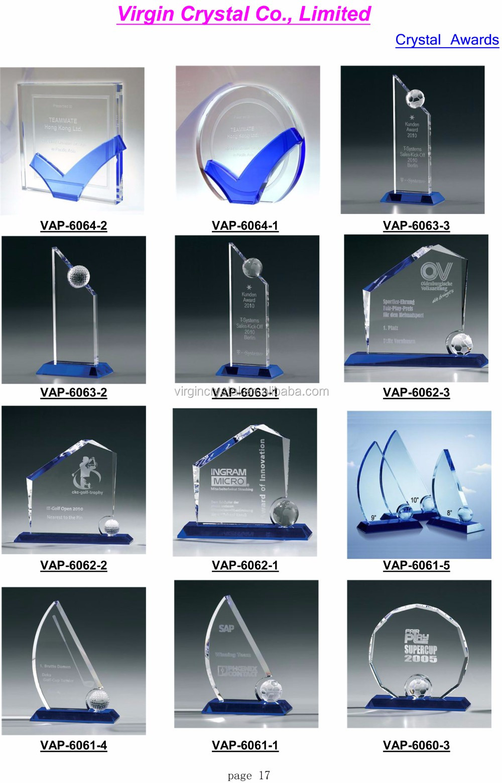 Golf theme crystal glass award plaque for customized Champion trophy souvenir