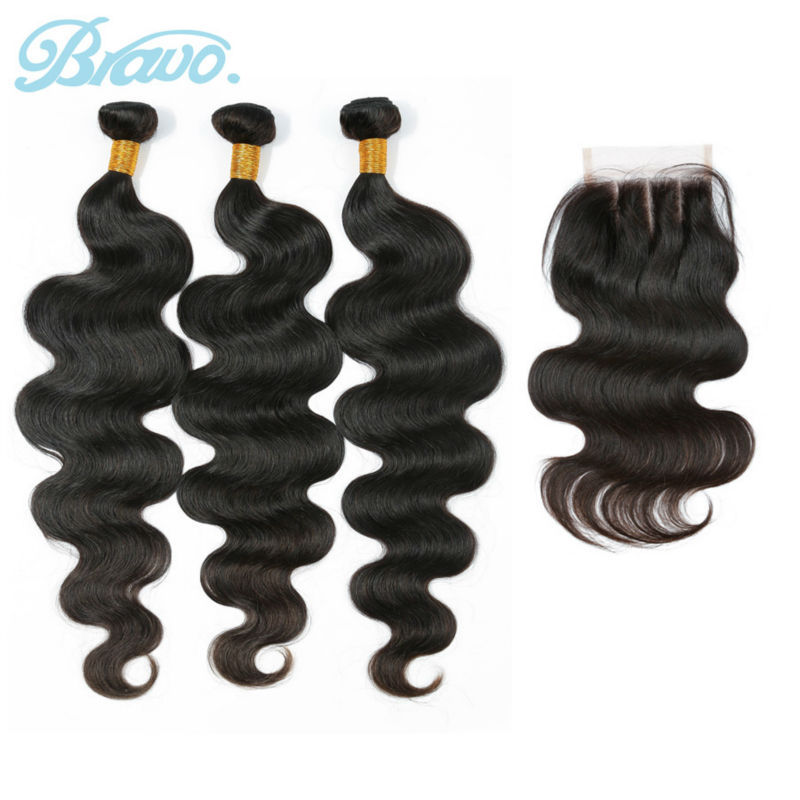 Brazilian Virgin Hair Body Wave 3pcs Human Hair Weave Bundles with Three Part Lace Closure Bravo Hair Products Hair Extensions