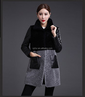 New Fashion Merino wool Coat with leather sleeves/Double Face Coat/winter sheep fur coat women
