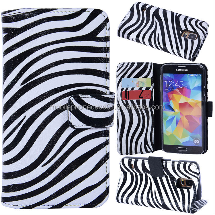 Zebra Phone Leather Case for Samsung Galaxy S5 i9600