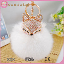 Fox Fur Ball with Artificial Fox Head Inlay Pearl Rhinestone Key Chain Key Ring for Womens Bag or Cellphone or Car Pendant