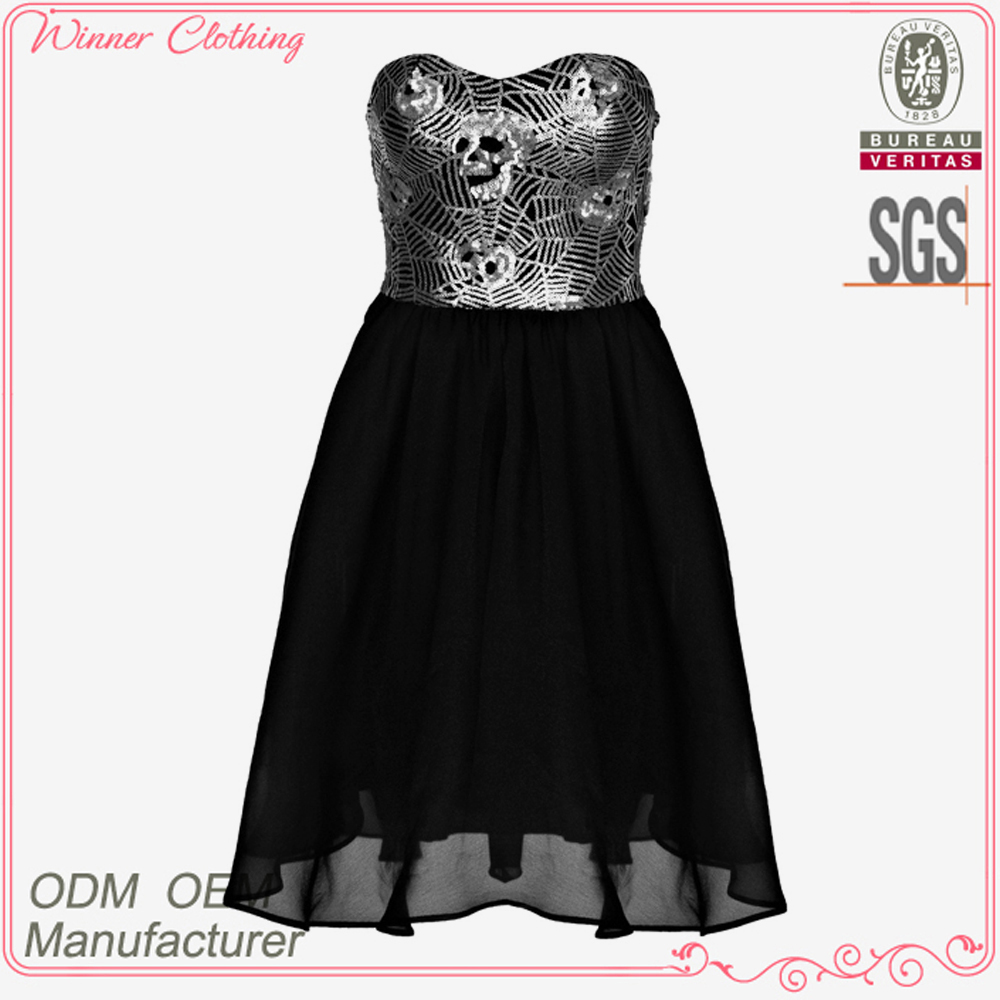 Latest strapless A-line balck printed new model girl dress 2012