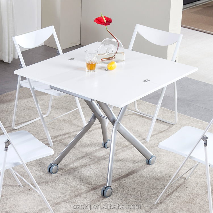 Space-saving Modern Transforming (Up-and-down & Folding) Coffee and Dining Table in White