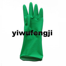 Green safety gloves with flocking soft and green comfortable wash clothes and bowl
