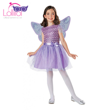 Halloween carnival girls fancy dress shinning fairy costumes for kids with wings