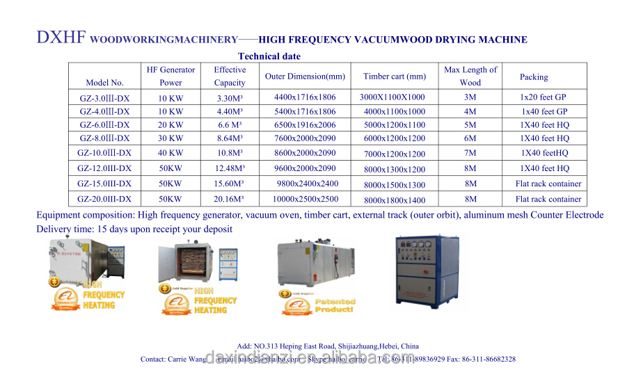 High frequency dryer machine for all kind of wood