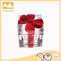 Fine gift glass jewelly box with red butterfly ribbon design