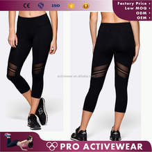 Female high waist gym exercise compression sports wear jogging pants capris pants
