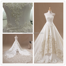 Lace Appliqued Satin Floor Length Custom Made Long Formal Bridal Design Robe De Mariee HS238 wedding dresses with long trains